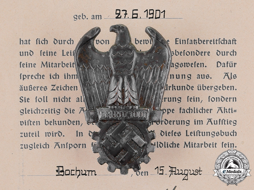 eMedals-Germany. A Dr. Fritz Todt Prize with Award Document To K. Zimmermann, Numbered, c.1944