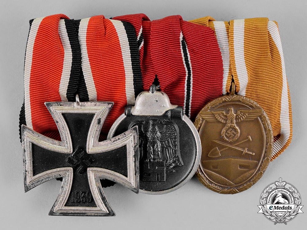 eMedals-Germany. A Medal Bar with Three Medals, Awards, and Decorations