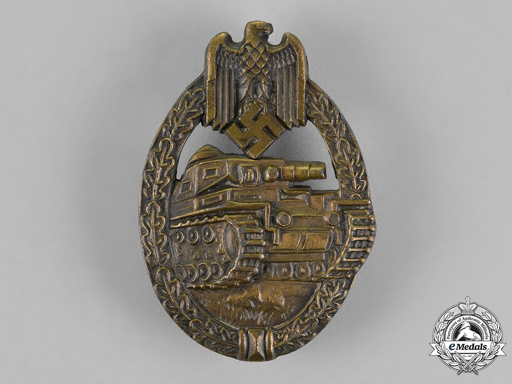 eMedals-Germany, Wehrmacht. A Tank Badge, Bronze Grade, by Unknown Maker E.W.E
