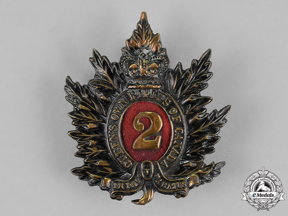 eMedals-Canada. A Victorian 2nd Regiment Queen's Own Rifles Cap Badge, c.1890s