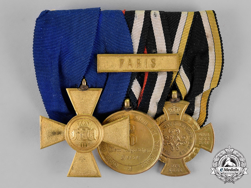 eMedals-Prussia, State. A 25-Year Long Service Medal Bar with Three Awards