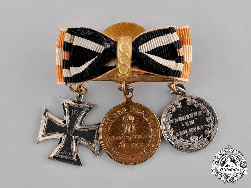 eMedals-Prussia, State. An 1870 Boutonniere with Three Medals, Awards, and Decorations