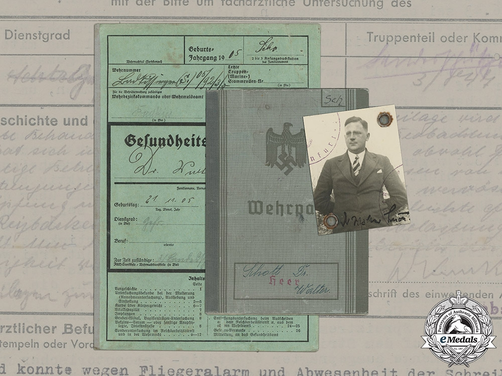 eMedals-Germany, Heer. A Wehrpaß and Health Book to Gefreiter Dr. Walter Schott, Discharged due to Abnormal Mental Condition