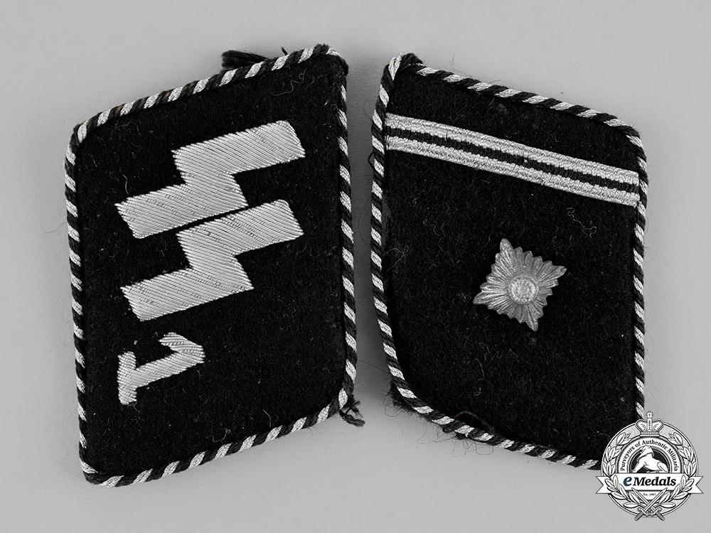 """eMedals-Germany, SS. A Set of SS Scharführer Rank """"Standarte Deutschland"""" Collar Tabs, Type II (1934-40)"""