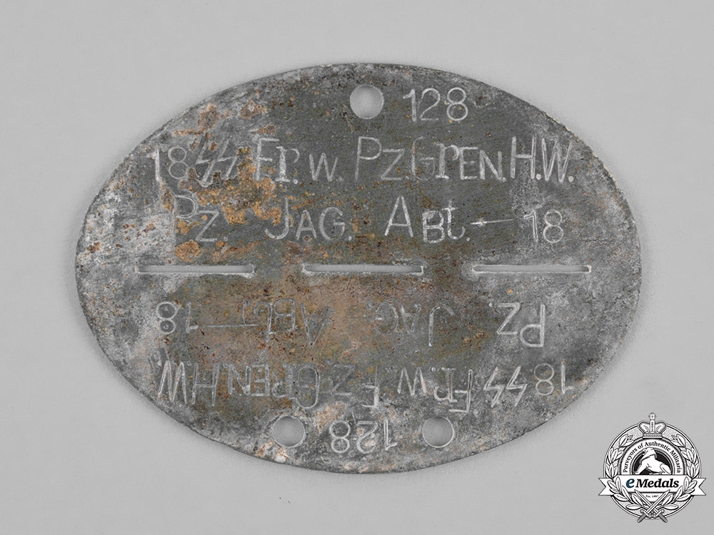 """eMedals-Germany, Waffen-SS. A 18th SS Volunteer Panzer Grenadier Division """"Horst Wessel"""" Identification Tag"""