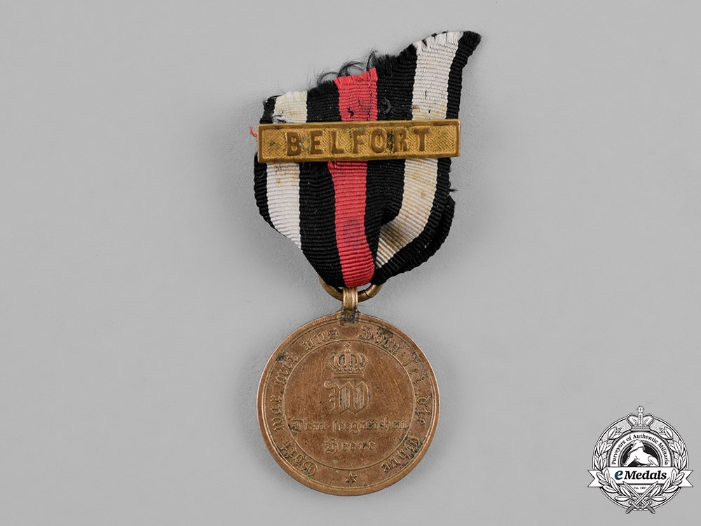 eMedals-Prussia, State. A War Commemorative Medal for 1870-1871, with Belfort Ribbon Clasp