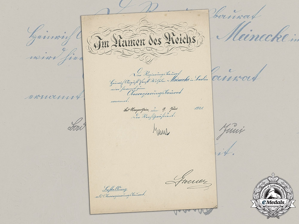 eMedals-Germany, Weimar Republic. A Promotion Document To Senior Construction Councillor Signed By Reich President Friedrich Ebert