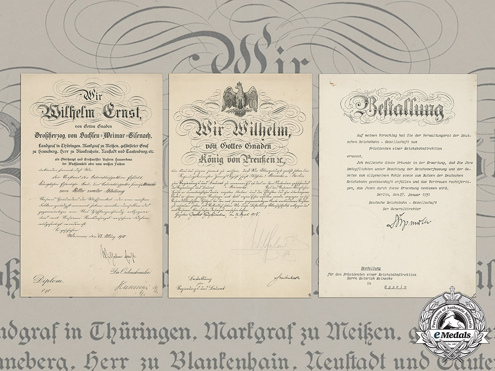 eMedals-Germany, Imperial. A Collection Of Appointment Documents Signed by   Wilhelm II, King of Prussia