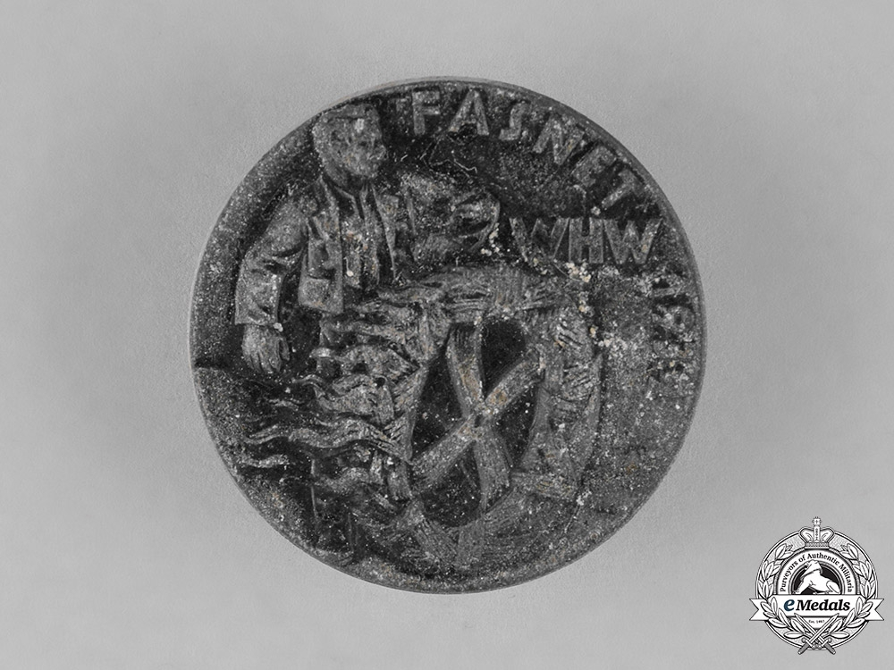 eMedals-Germany, National Socialist People's Welfare. A WHW Fasnet 1939 Tinnie by G.H. Mayer