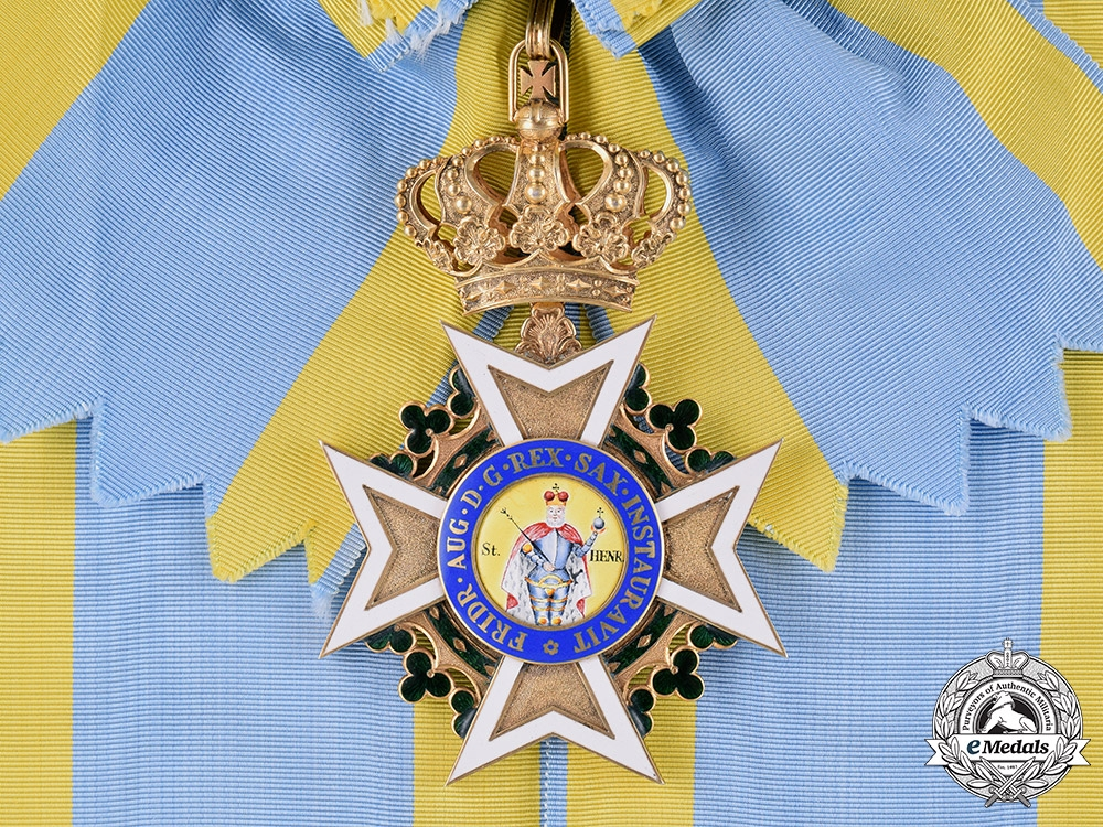 eMedals-Saxony, Kingdom. A Military Order of St. Henry, Grand Cross Sash Badge, One of Six Awarded