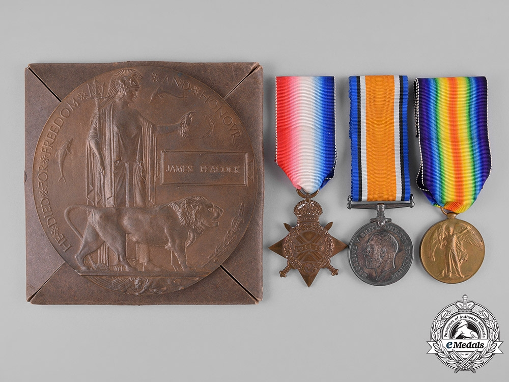 eMedals-United Kingdom. A Memorial Group to Sgt Peacock, Royal Scots Guard, KIA 1915 Battle of the Loos