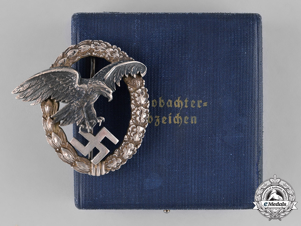 eMedals-Germany, Luftwaffe. An Early Observer's Badge by C.E. Juncker, with Case