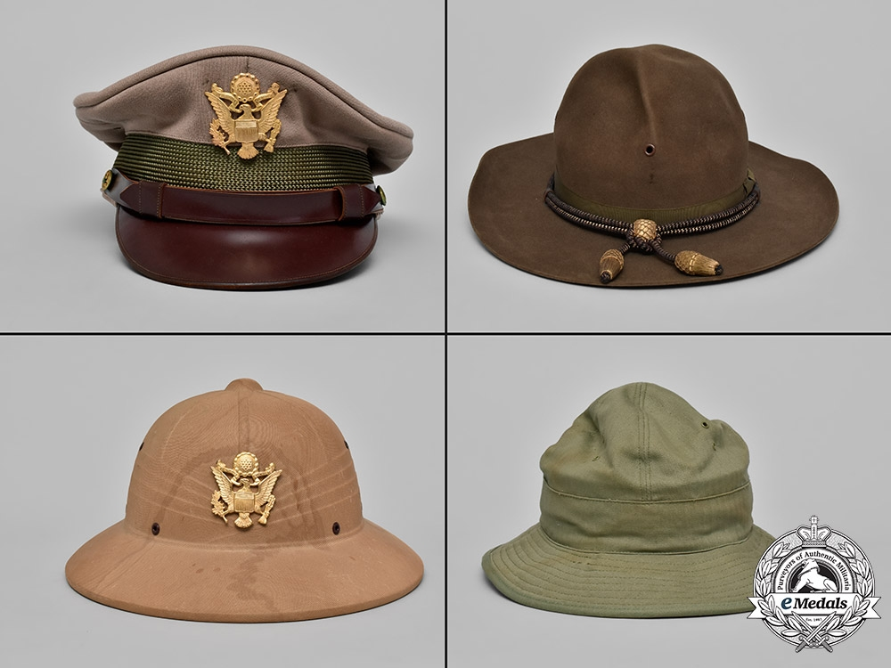 eMedals-United States, Army. Four Military Helmets and Hats, c.1945