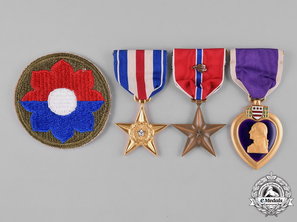 eMedals-United States. A Silver & Bronze Star, Purple Heart Group, 9th Infantry Division, United States Army, 1945