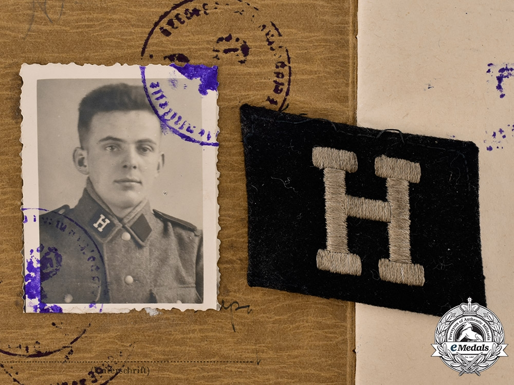 eMedals-Germany, SS. A Soldbuch & Collar Tab to Bela Pup, 25th Waffen Grenadier Division