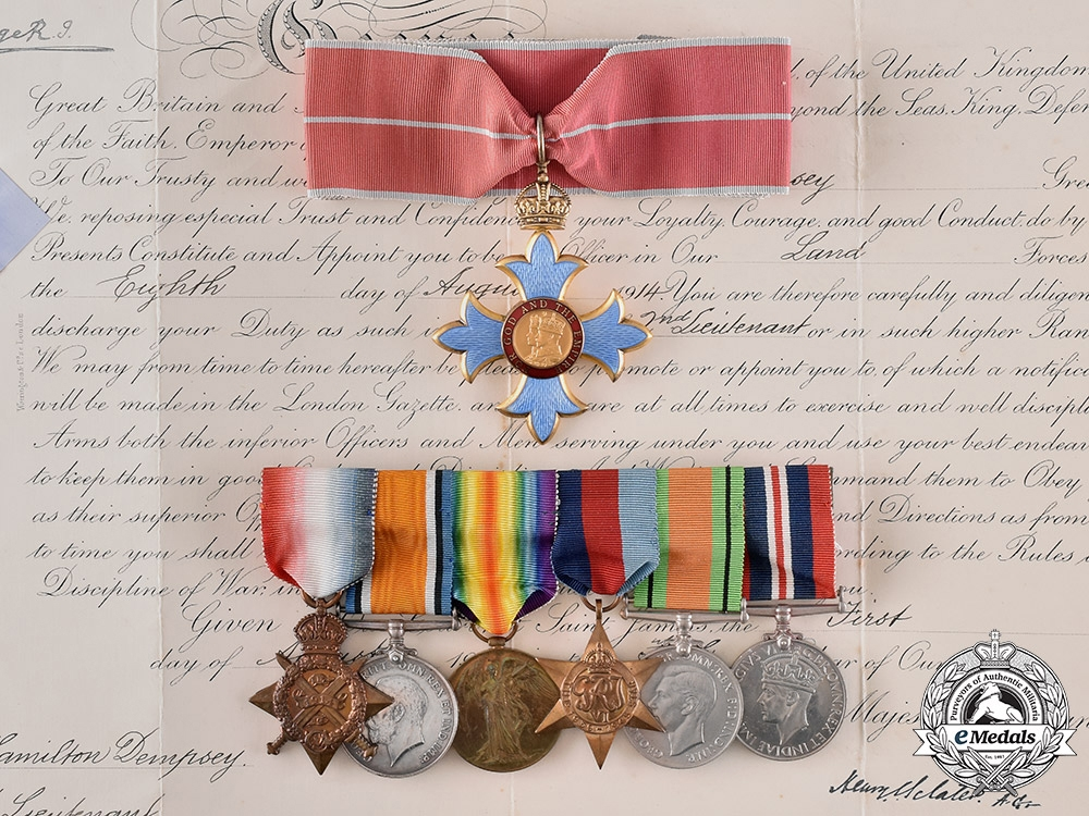 """eMedals-United Kingdom. An """"Overlord"""" CBE & Document Group to Brigadier Harry Hamilton Dempsey"""