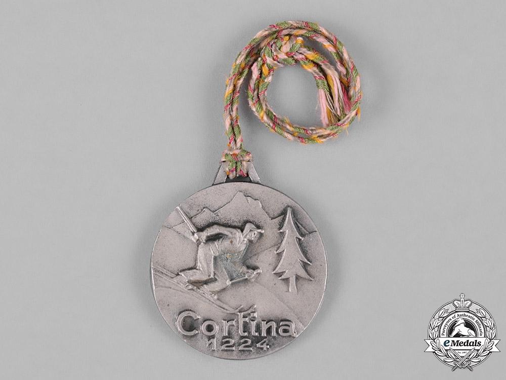 eMedals-Italy, Kingdom, Republic. A Cortina d'Ampezzo 1224 Skiing Commemorative Medal