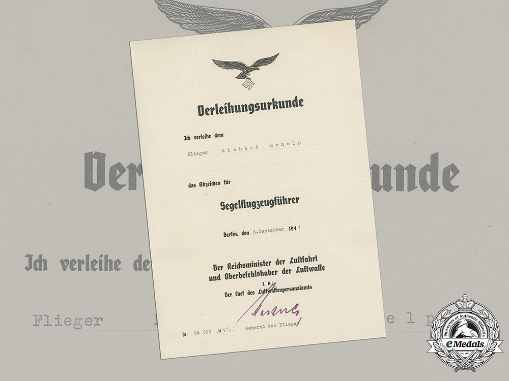 eMedals-Germany, Luftwaffe. A Rare Glider Pilot Badge Award Document to Flieger Richard Schelp, c.1941