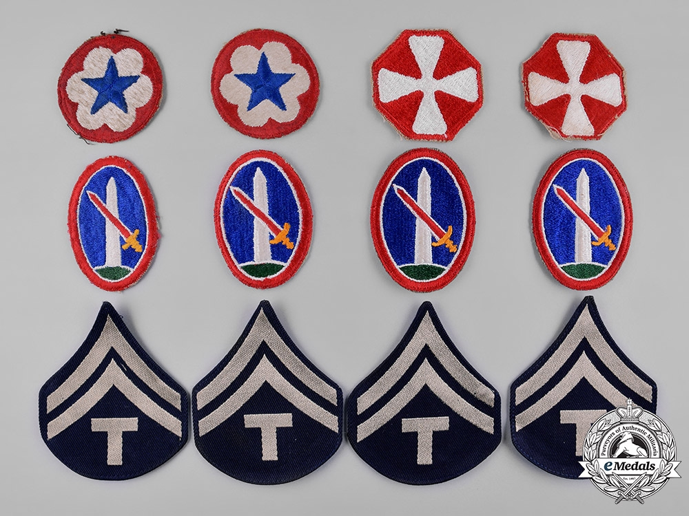 eMedals-United States. Twelve  Army Shoulder Sleeve Insignia, c.1950