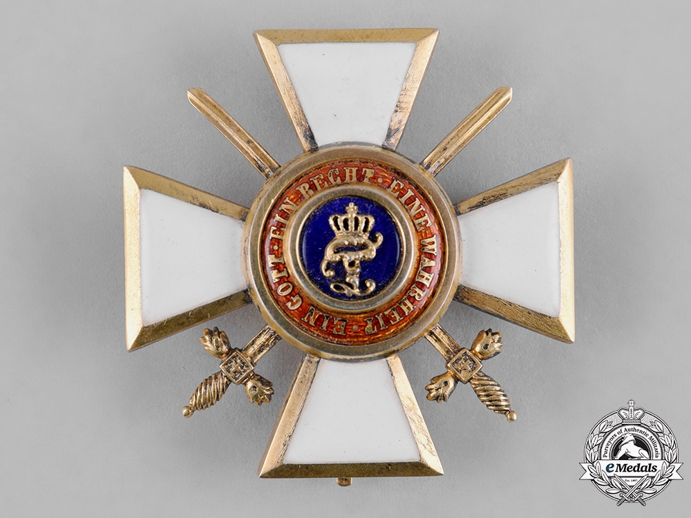 eMedals-Oldenburg, Grand Duchy. A House & Merit Order of Peter Friedrich Ludwig, Officer's Cross with Swords, by B. Knauer, c.1914