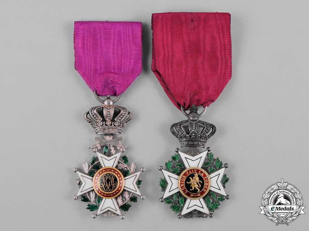 eMedals-Belgium, Kingdom. A Lot of Two Order of Leopold's V Class Knight, c.1920