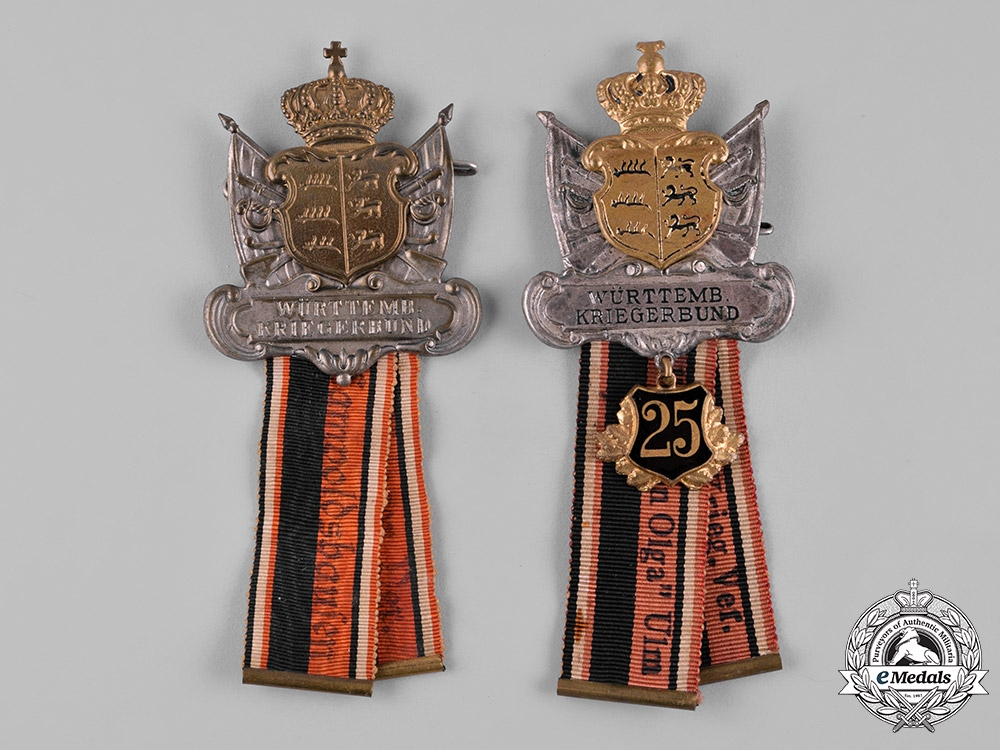 eMedals-Germany, Imperial. A Pair of Württemberg Veteran's Association Badges