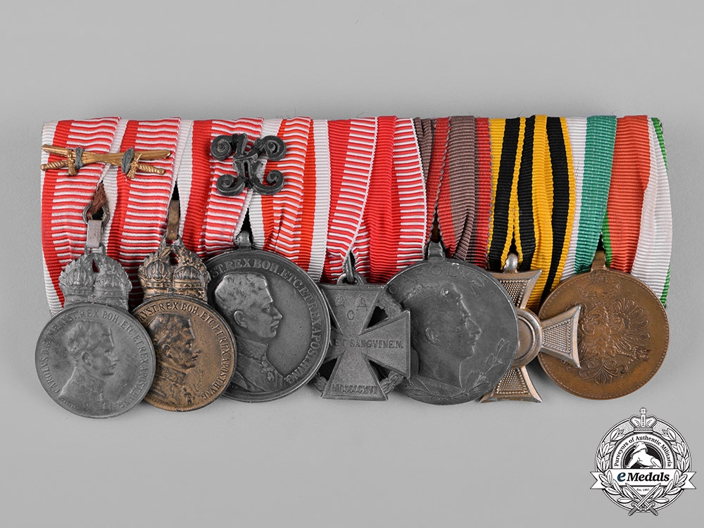 eMedals-Austria, Imperial. A First War Military Merit and Bravery Medal Bar, c.1917