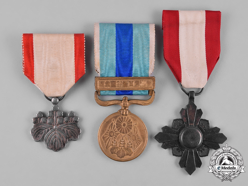 eMedals-Japan, Empire. Three Medals & Decorations