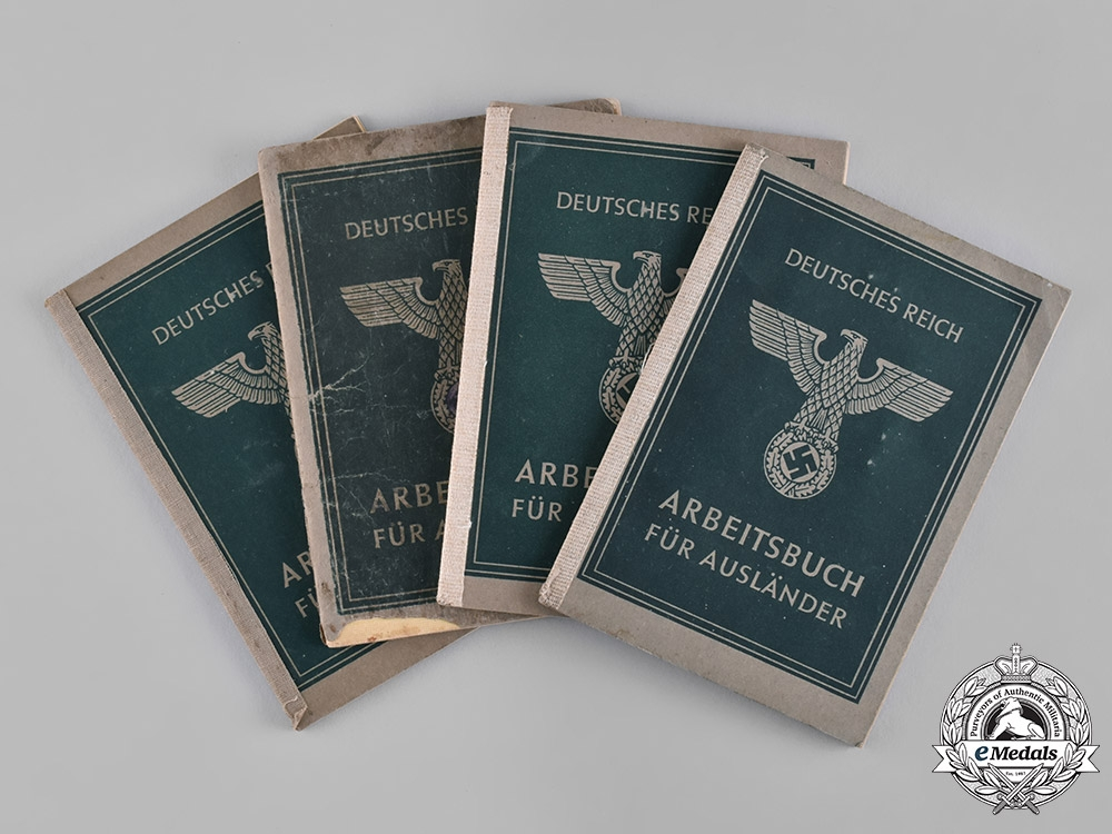 eMedals-Germany, Third Reich. A Lot of Four German Labour Books for Foreigners, c.1944