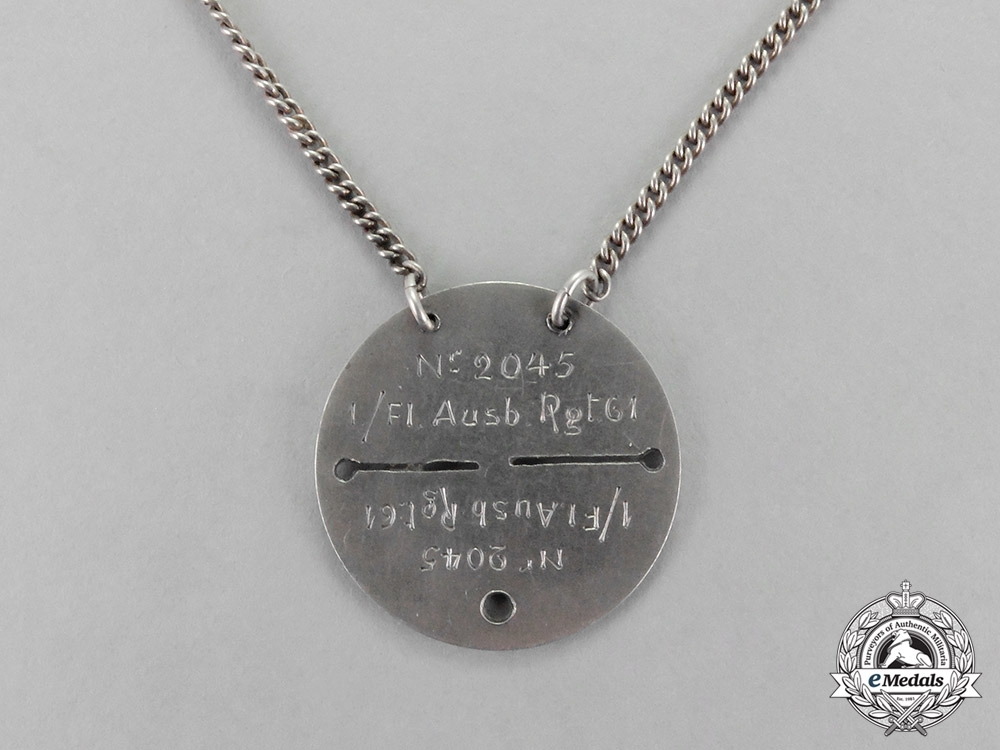 eMedals- Germany, Imperial. A Privately Made Flyer's ID Dogtag Necklace
