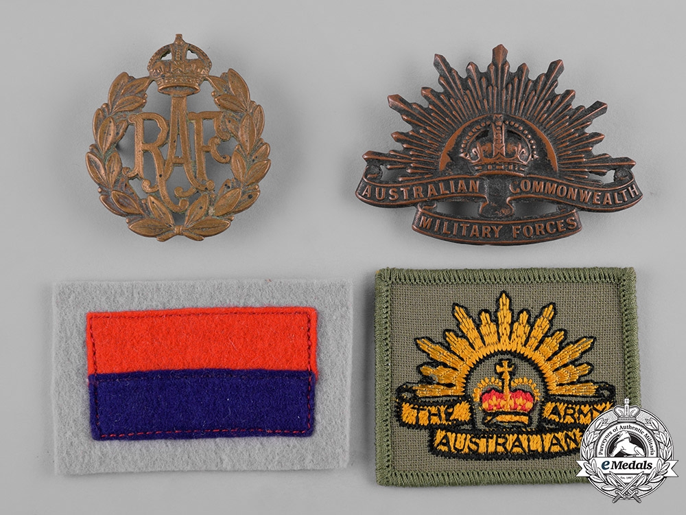 eMedals-Australia, United Kingdom. A Lot of Four Cap Badges and Patches