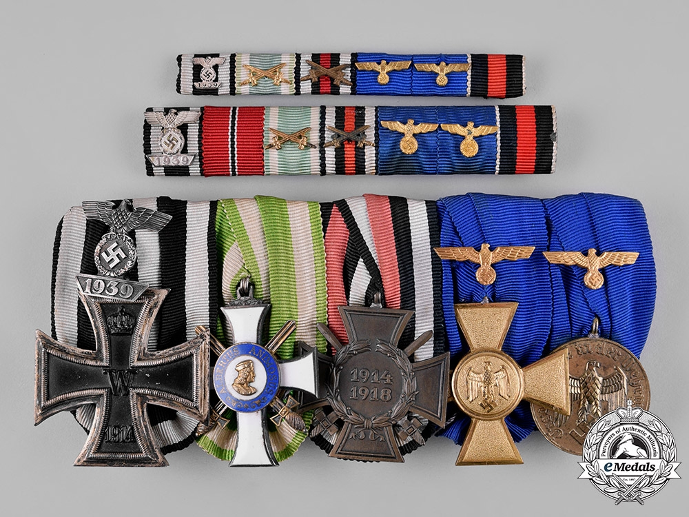 eMedals-Germany, Wehrmacht. An Albert Order & Heer Long Service Medal Bar with Ribbon Bars
