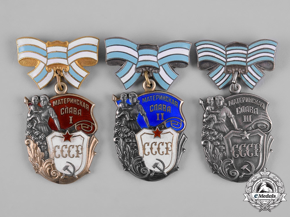 eMedals-Russia, Soviet Union. Three Orders of Maternal Glory