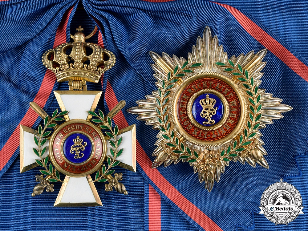 eMedals-Oldenburg, Grand Duchy. A House & Merit Order of Peter Friedrich Ludwig, Golden Grand Cross with Swords & Laurels