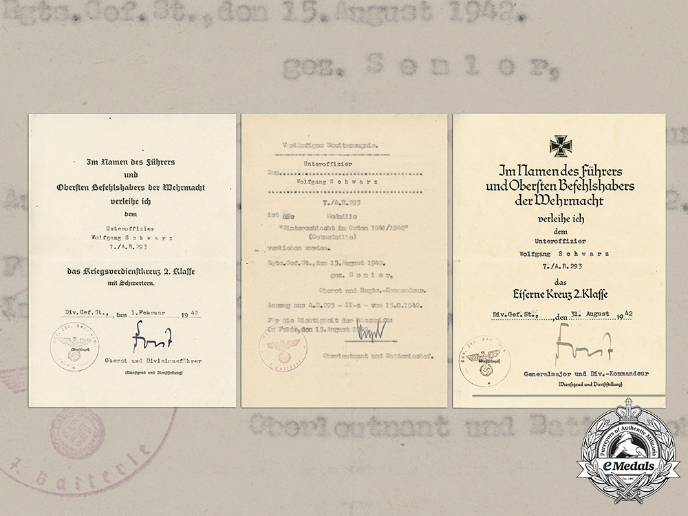 eMedals-Germany, Heer.  A Set of Award Documents to the 7th Company, Artillery Regiment 293, 1942