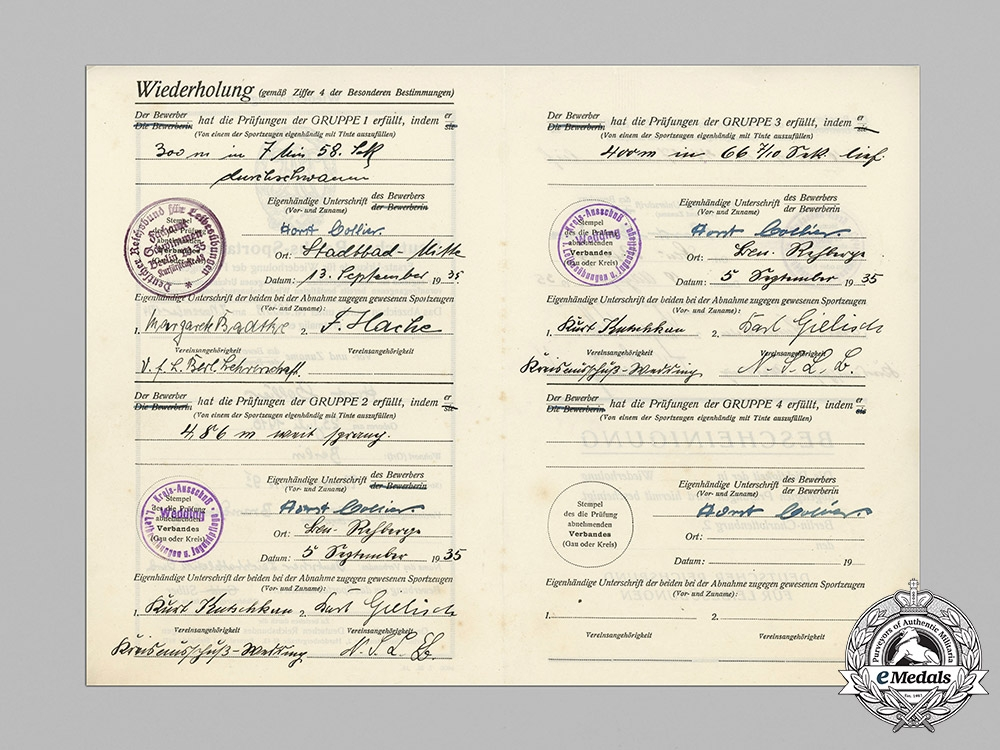 eMedals-Germany, Wehrmacht. An Award Document for a Silver Grade Sports Badge, 1935