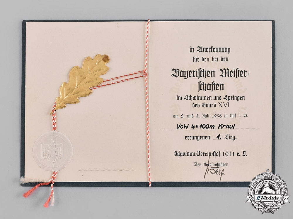 eMedals-Germany, Wehrmacht. A First Place Award Document for the 1938 Bavaria Gau Sports Championship