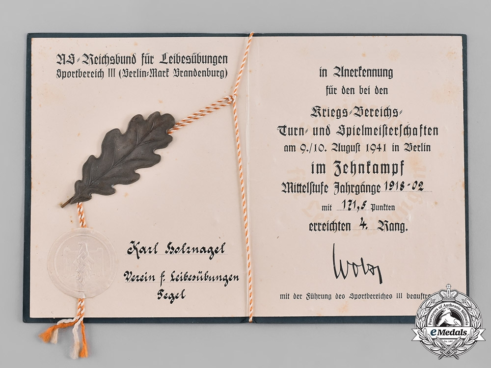 eMedals-Germany, Wehrmacht. A Sports Award Document for 4th Place in Decathlon, 1941
