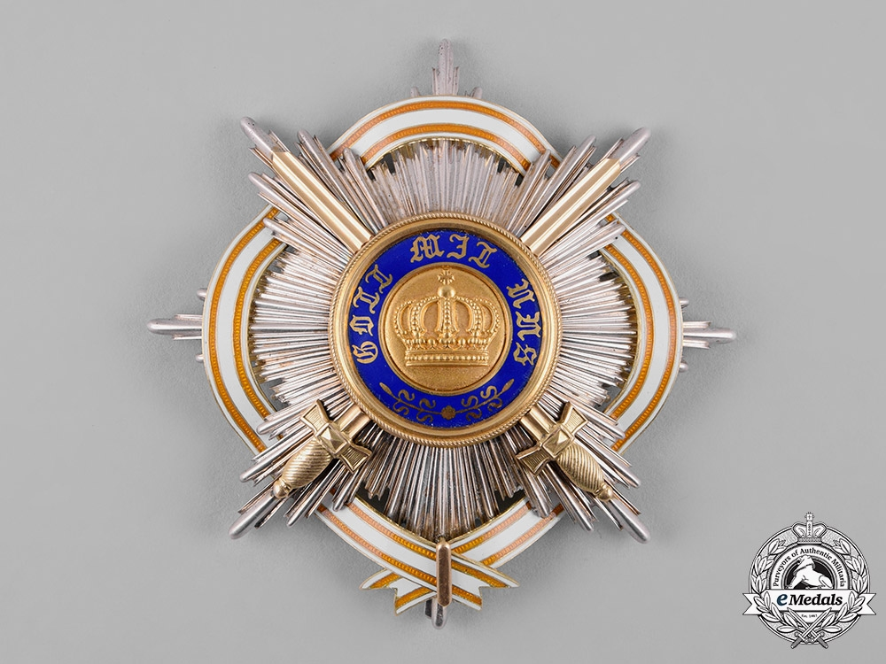 eMedals-Prussia, Kingdom. An Order of the Crown, I Class Star with Swords & Ribbon of the Red Eagle Order, by Godet & Sohn