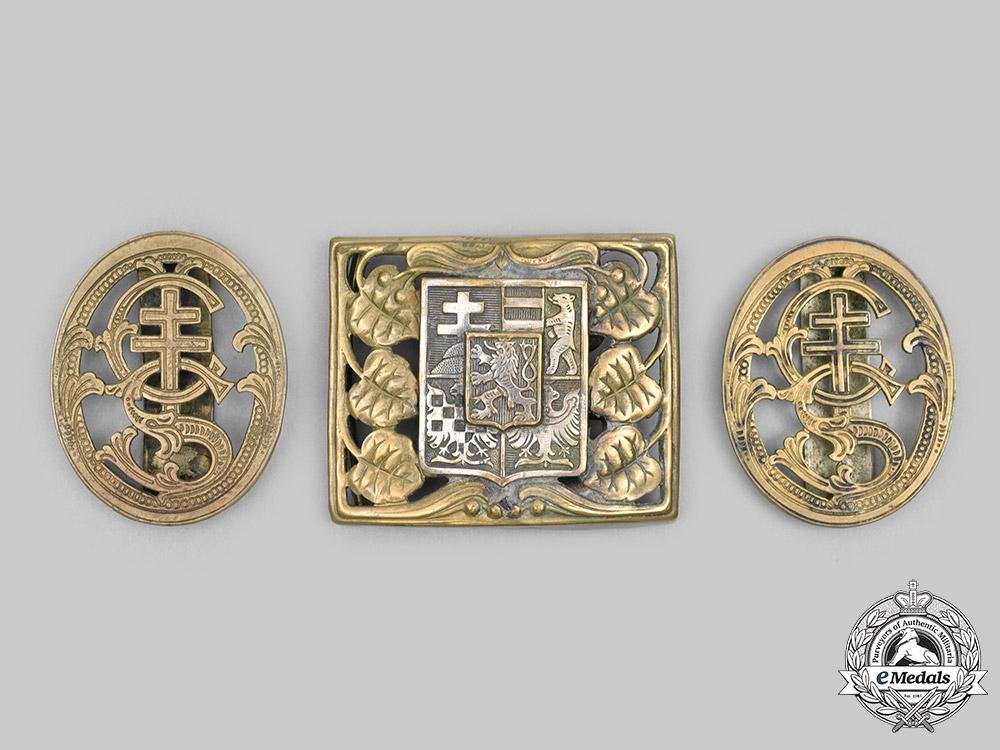 eMedals-Czechoslovakia, First Republic. An Officer's Belt Buckle, with Badges