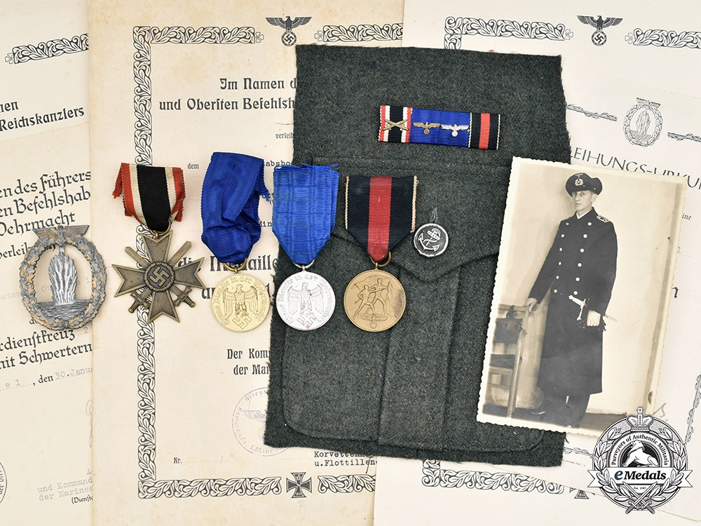 eMedals-Germany, Kriegsmarine. A Lot of Medals and Award Documents to Oberleutnant Otto Keil, 1st Minehunter Flotilla