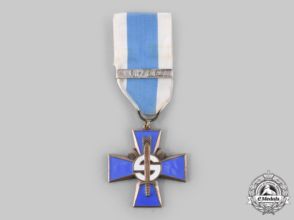 eMedals-Finland, Republic. A Blue Cross for the Civil Guard Veterans of the War of Independence