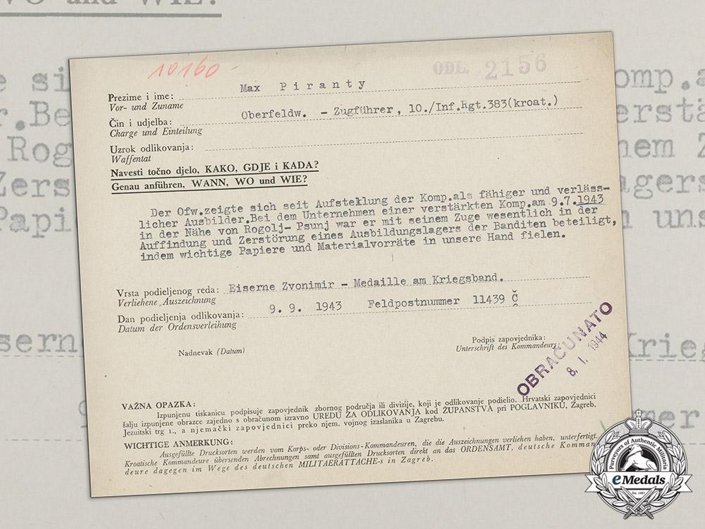 eMedals-Croatia. An Iron Zvonimir Medal Award Document to Oberfeldwebel Max Piranty