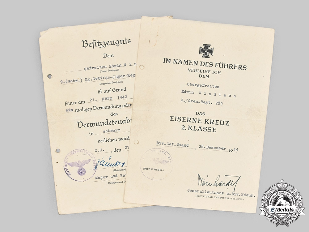 eMedals-Germany, Heer. A Pair of Award Documents to Obergefreiter Edwin Windisch