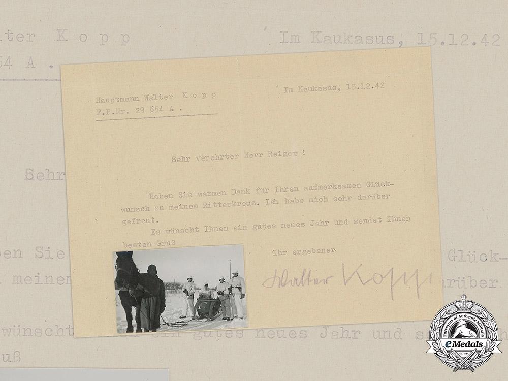 eMedals-Germany, Heer. A Signed Thank You Note by KC Winner Hauptmann Walter Kopp, 1942