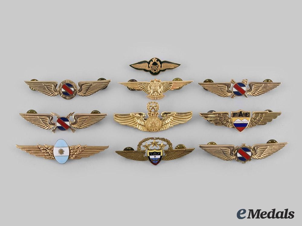 eMedals-Argentina, Brazil, Chile, Colombia, Ecuador, El Salvador, Uruguay. Lot of Ten Central and South American Air Force Badges