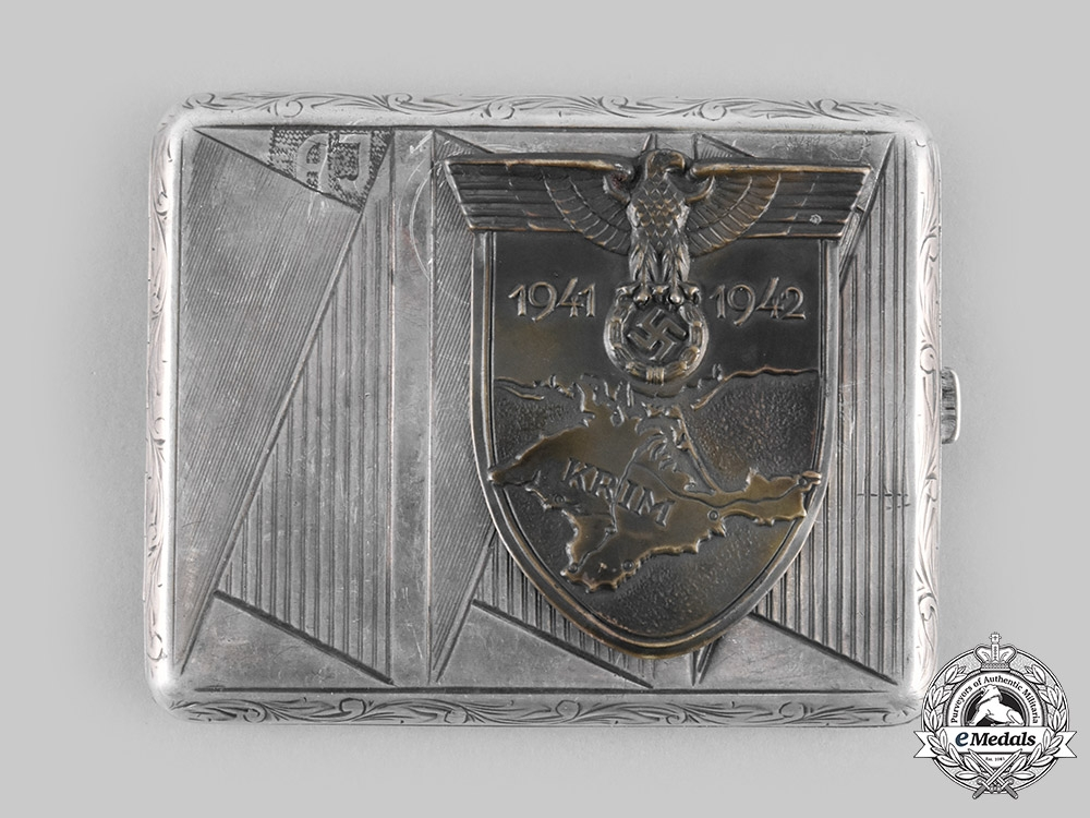 eMedals-Germany, Wehrmacht. A Krim Shield Silver Cigarette Case