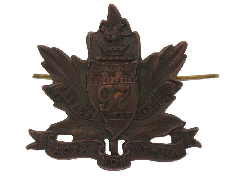 "eMedals-WWI 97th Battalion ""Toronto Americans"" Cap Badge"