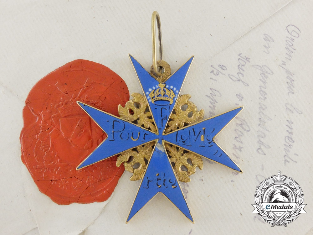 eMedals-Prussia, Kingdom. The Pour-le-Merite in Gold & Award Documents of Baron Von Rosener, Austrian General Staff