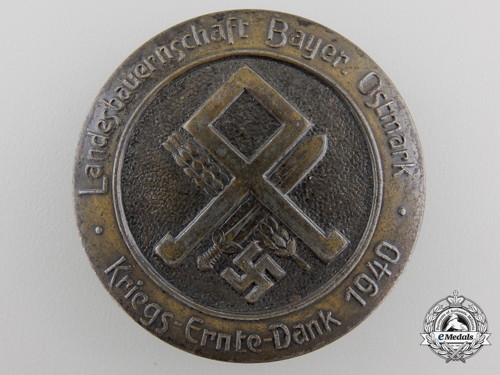 "eMedals-A 1940 Bavarian Agricultural ""Harvest Thank you Day Badge"